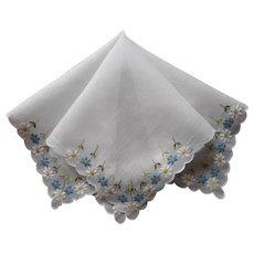 Vintage Hankie Blue White Daisies Embroidery Handkerchief