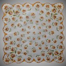 Vintage Hankie Printed Narcissus Golden Yellow Brown Cotton