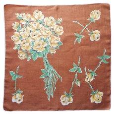 Vintage Hankie Linen Print Yellow Roses Brown Printed Handkerchief