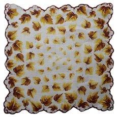 Vintge Hankie Leaves Print Unused Yellow Brown Printed Handkerchief