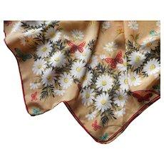 1950s Silk Scarf Butterflies Daisies TLC
