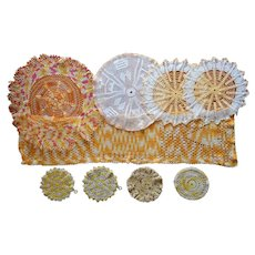 Vintage Crocheted Lace Doilies Potholders Runner All Yellow Orange