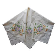 1920s Hand Embroidered Tablecloth Baskets Flowers Vintage TLC