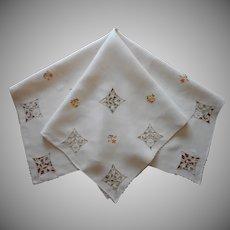 Madeira Tea Tablecloth Ecru Yellow Orange Linen Hand Embroidery TLC