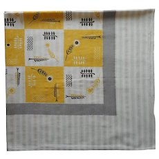 MCM Tablecloth Kitchen Cotton Print Vintage 50s Silver Gold Threads Yellow Gray