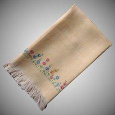 1920s Towel Hand Embroidered Unused Vintage Yellow