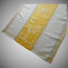 Rooster Vintage Towel Linen Damask Kitchen Unused Yellow