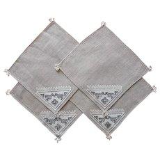 Italian Work Little Napkins Vintage Unused Hand Embroidery