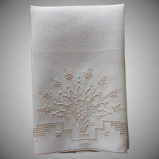 1920s Ecru Colored Linen Towel Unused Vintage Hand Embroidery