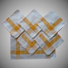 Monogram M.S. 1920s Napkins Vintage Yellow White Cotton Damask