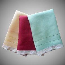 Point de Paris Lace Sailboats Trim 1930s Linen Guest Towels Vintage