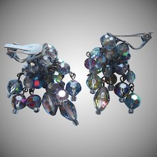 Cha Cha Earrings Vintage AB Crystal Beads Gray Smoke Clip Dangles