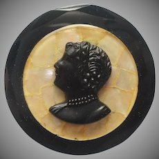 Antique Glass Pin Black Cameo Mother Of Pearl