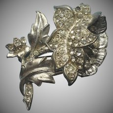 1930s Pin Open Peony Flower Figural Rhinestone Vintage Pot Metal