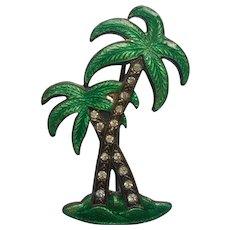 Enamel Art Deco Pin Palm Trees Tree Rhinestones Vintage 1920s to 1930s