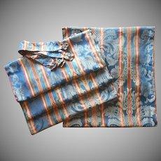 1920s Curtains Damask Weave Stripe Blue Orange Black