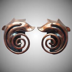 1950s Copper Earrings Signed Rame Vintage Clip Spiral Scroll