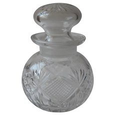 Cut Glass Jar Bottle Form Stopper Vintage