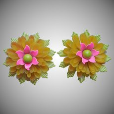 Vintage Big Flower Earrings Enamel Metal Plastic Clip Hot Pink Yellow