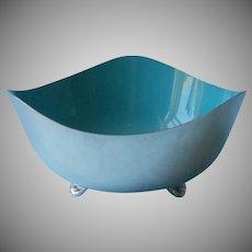 Turquoise Blue Enamel Silver Plated Bowl Midcentury Vintage Heirloom Silverplate