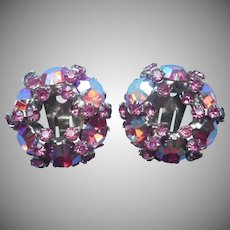 Pink AB Crystal Rhinestones Earrings Vintage Warner Clip Circle