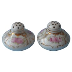 Antique Shakers Little Hand Painted China Pink Gold Salt Pepper