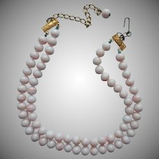 Faux Angel Skin Coral Colored Glass Beads Vintage Necklace TLC