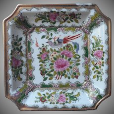 Asian Square Dish  Hand Painted Macau Vintage Porcelain Pink Green Gold
