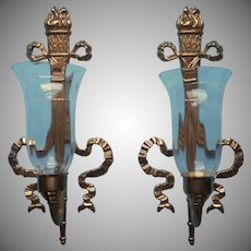 Bombay Company Pair Brass Candle Sconces Ribbon Bows Torches Vintage 1992