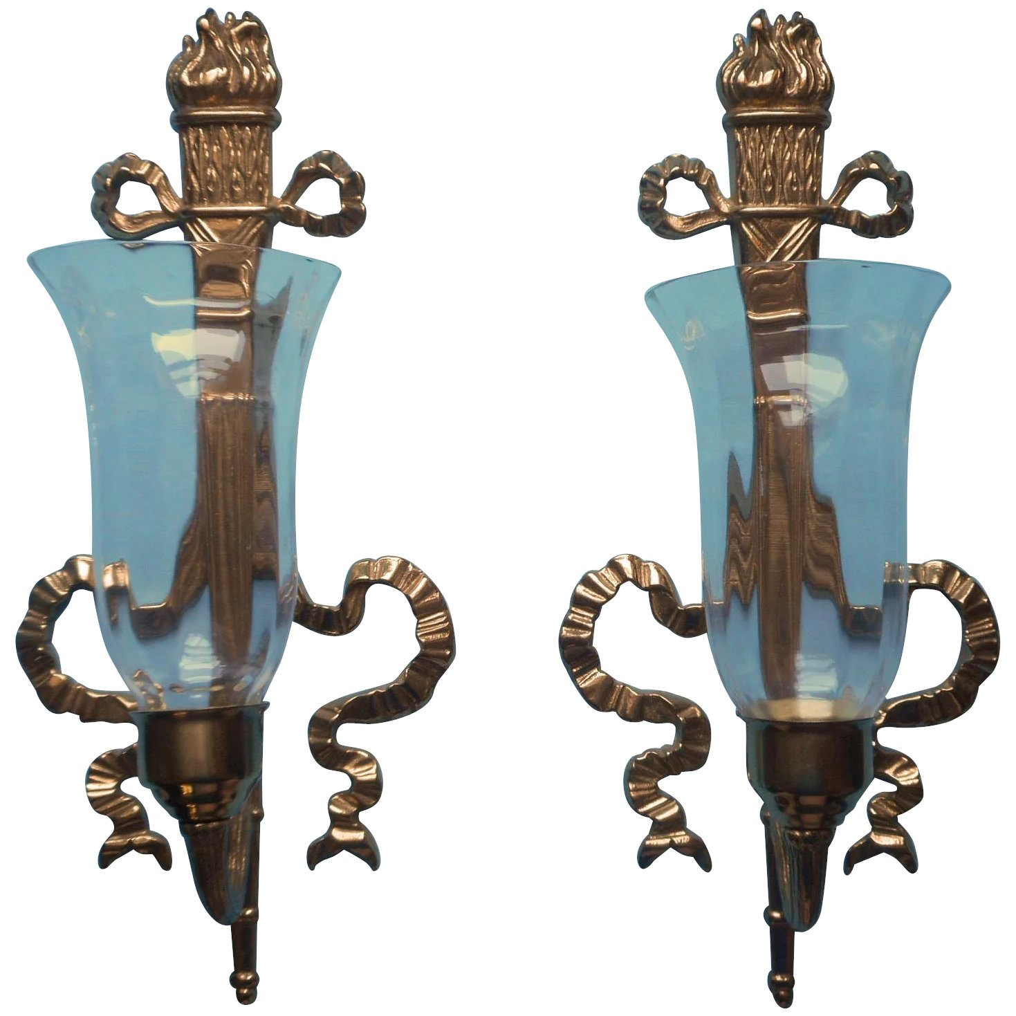 Image of: Bombay Company Pair Brass Candle Sconces Ribbon Bows Torches Vintage Mercy Maude Ruby Lane