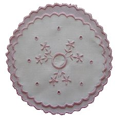 Pin Cushion Cover Antique Pink White Hand Embroidered