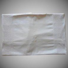 Antique Duvet European Small Monogram H. E. Lace Tucks Cotton