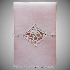 1920s Italian Fingertip Towel Vintage Pink Linen Lace Embroidery