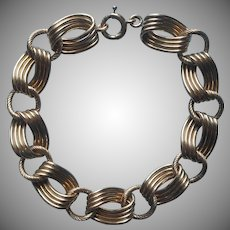 Gold Filled Charm Bracelet Chunky Textured Links Vintage 1950s