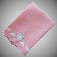 Maseira Towel Pink Linen Vintage Appliqued Animals Flower Hand Embroidery