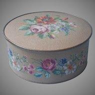 Vintage Tin Needlepoint Effect Guildcraft Floral