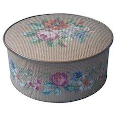 Vintage Tin Needlepoint Effect Guildcraft Floral