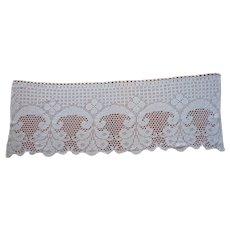 Valance Crocheted Lace Vintage European Filet Crochet