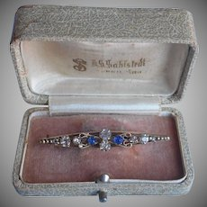 Antique 1900s Bar Pin Blue Clear Glass Stones Brass Filigree