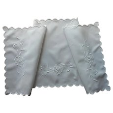 Antique White Work Hand Embroidery Linen Dresser Scarf Roses
