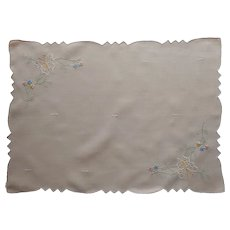 Peach Madeira Tray Cloth Vintage Linen Hand Embroidered Butterflies