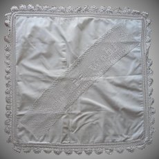 Antique Pillow Sham Crocheted Lace Sleep Well Motto In German