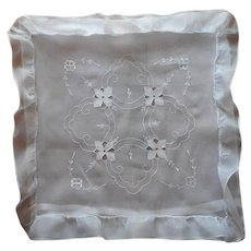 Organdy Pillow Sham Vintage European Ruffle Cutwork