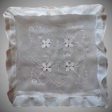 Organdy Pillow Sham Vintage European Ruffle Cutwork
