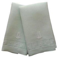 Monogram M 1920s Guest Towels Vintage Mint Green Linen