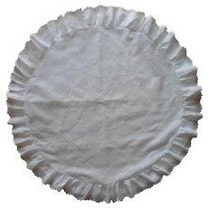 Round Pillow Sham Vintage Ruffled Eyelet Big 30 Inch