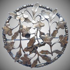 ca 1920 Brass Pin Brooch Large Leaves Flowers Handsome