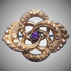 Victorian Love Knot Pin Antique Purple Stone