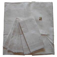 Unused Damask Tablecloth Napkins Set 63 x 51 Linen Cotton Blend
