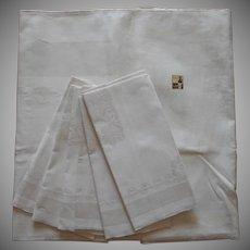 Unused Damask Tablecloth Napkins Set 63 x 51 Linen Cotton Blend